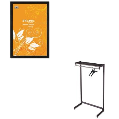 KITDAX2863U2XQRT20213 - Value Kit - Quartet 36amp;quot; Wide Single-Side Garment Rack w/Shelf (QRT20213) and DAX MANUFACTURING INC. Black Solid Wood Poster Frames w/Plastic Window (DAX2863U2X)