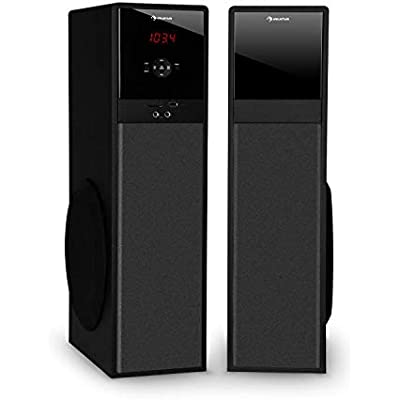 AUNA Line 100 2 0 Tower Speakers 3-Way Speakers  Bluetooth Speakers  Watts  Height  60 5 cm  USB  SD  Radio Tuner  Stereo Audio Input  Includes Remote Control  Colour  Black