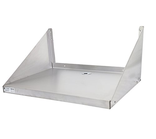 "GSW Stainless Steel Reinforced Edge Wall Mount Microwave Oven Wall Shelf NSF Approved (24""W x 18""L x 12""H)"