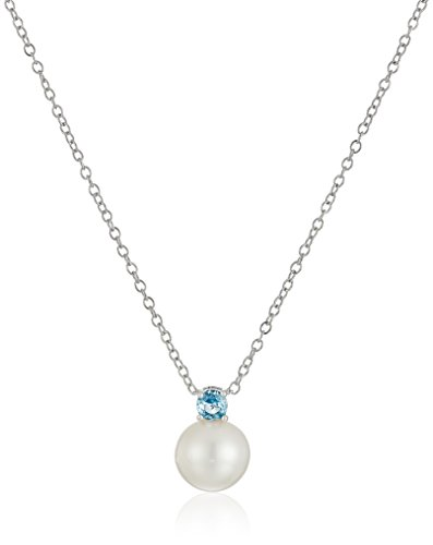 Aquamarine Pearl Necklace - Sterling Silver Created Aquamarine 3mm and Freshwater Cultured Pearl 8-8.5mm Birthstone Pendant Necklace, 18