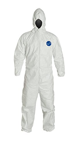 DuPont Tyvek 400 TY127S Individually Packed Disposable Protective Coverall with Hood and Elastic Cuff for PPE Vending Machines, White, Large (Retail Pack of 1)