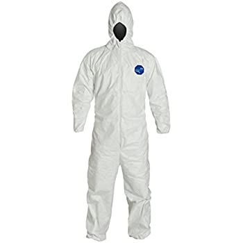 DuPont Tyvek 400 TY127S  Protective Coverall with Hood, Disposable, Elastic Cuff, Size 2X-Large, White (Retail Pack of 1)