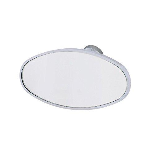 Chrome Oval Interior Rear View Mirror W/Glue-On Mount Hot Street Rod ()