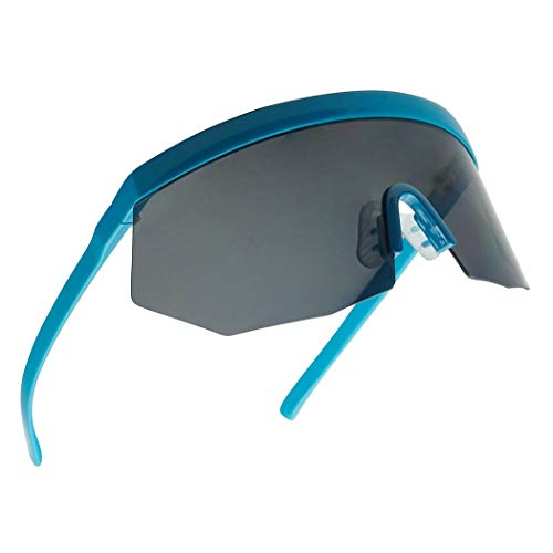Oversize Single - Super Oversize Flat Top Geometric Single Shield Neon Visor Sunglasses Mirror Lens (Neon Blue | Black Lens)