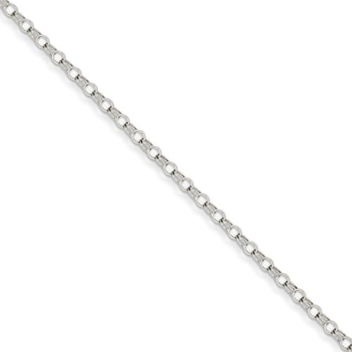 14k White Gold 3mm Solid Double Link Charm Bracelet 7 Inch Fine Jewelry For Women Gift Set (White Charm 14k Bracelet Gold)