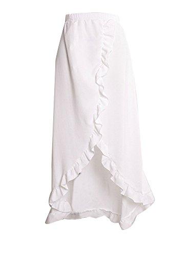 Haute Longue Feuille De Classique Unie Blanc Couleur Lotus Plage Elgante Femme Jupe Taille 8wZCO1wq