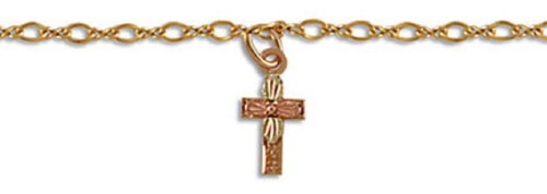 Landstroms Ankle Bracelet with 10k Black Hills Gold Cross on 12/20 Gold-Filled Chain - G LBR611A