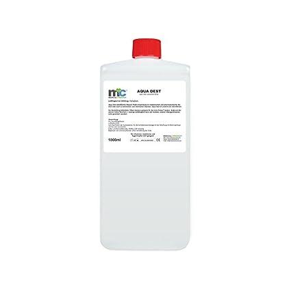 Agua destilada Aqua Dest – Botella de 1000 ml, sin esterilizar y con microfiltro,