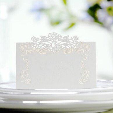 Saitec ® 50 Laser Cut Flower Vine Pattern Paper Card Marriage Party Banquet Place Card Table Number Name Holder