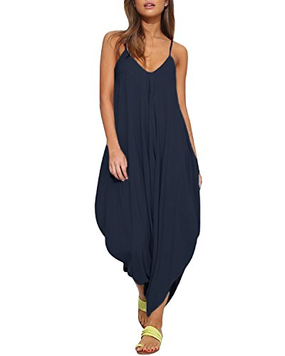 (Auxo Women Jumper Harem Jumpsuit V Neck Summer Romper One Piece Jumpsuit Playsuit Navy US 12/Asian 2XL)