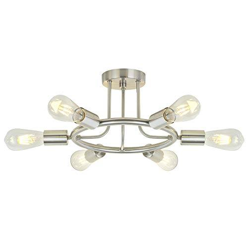 Sputnik Chandelier Brushed Nickel Modern Starburst Chandelier 6 Lights Semi Flush Mount Ceiling Light Industrial Vintage Dining Room Light Fixture UL Listed by BONLICHT ()