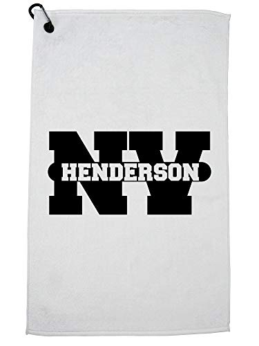 (Hollywood Thread Henderson, Nevada NV Classic City State Sign Golf Towel with Carabiner)