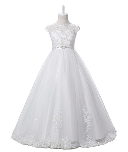 Nina Flower Girls Pageant First Communion Scoop Lace Dress White 14 by Nina