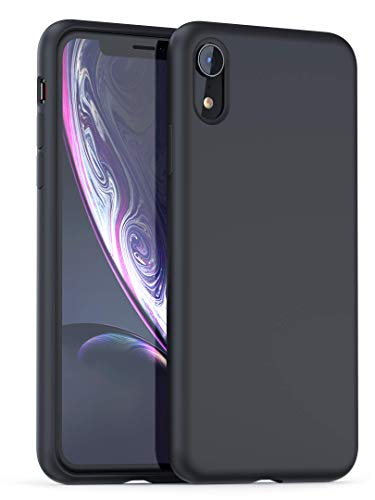 XR Silicone Case | Powerbear iPhone Slim Soft Touch Liquid Silicone Gel Rubber Case | Shock Absorption and Anti Scratch Finish | Apple iPhone XR - Black ()