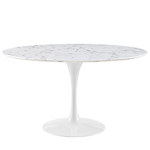 Modway Lippa 54 Artificial Marble Dining Table in White