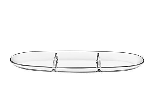 Barski - European Quality - Glass - Three Sectional Tray - Platter - Relish Dish - 16