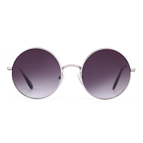 Retro RoundFlash Sunglasses Reflective Circle Lens Alloy Eyeglasses Men Women (Silver / Gradient - Lense Gradient