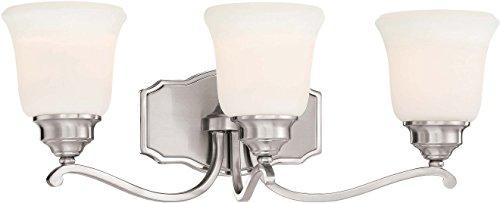 Minka Lavery Wall Light Fixtures 3323-84 Savannah Row Wall Bath Vanity Lighting, 3-Light 300 Watts, Brushed Nickel