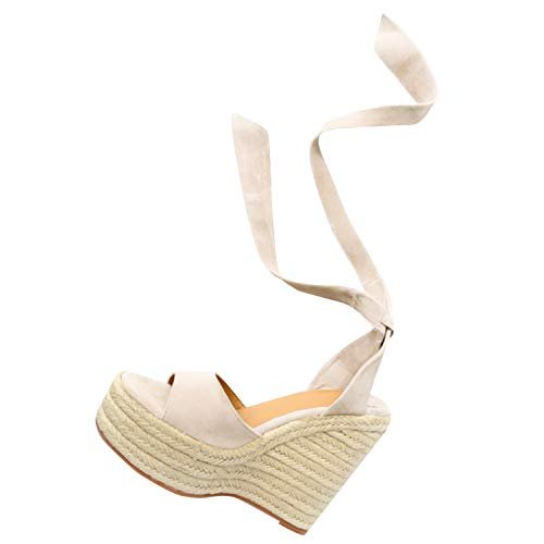 Nailyhome Womens Lace Up Espadrille Platform Wedge Sandals Open Toe Slingback Ankle Tie Up D'Orsay Summer Shoes ()