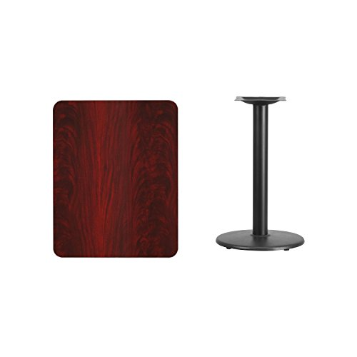 Flash Furniture 24'' x 30'' Rectangular Mahogany Laminate Table Top with 18'' Round Table Height Base by Flash Furniture