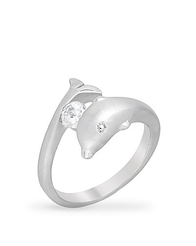 Cut Dolphin Ring - Genuine Rhodium Plated Dolphin Ring with Round Cut Clear Cubic Zirconia in a Tension Setting Size 7
