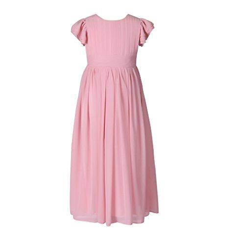 Castle Fairy Flower Girl Dress Chiffon Flutter Sleeve Holy Communion Dress Junior Bridesmaid Dress (6, Pink Blush)