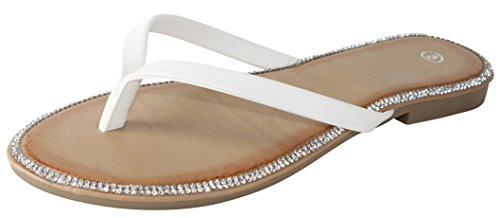 Cambridge Select Women's Crystal Rhinestone Thong Flip-Flop Slip-On Flat Sandal (7 B(M) US, White)