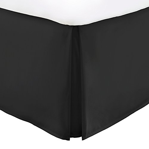 Italian Luxury Hotel Collection Bed Skirt with 15-inch Drop - Double Brushed Microfiber Pleated Dust Ruffle - Black - Full - Black Full Bedskirt