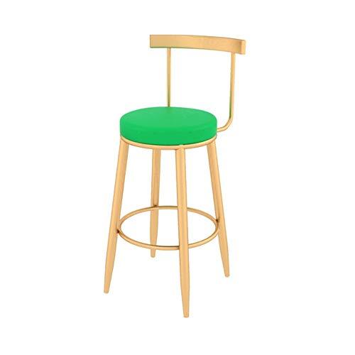 HYXXQQ Taburete alto de bar silla de cocina, mesa de bar, taburete alto con respaldo y soporte de metal, suave y comodo, antideslizante |41X41X65/75cm-negro (150 kg) AAA++ 65CM verde