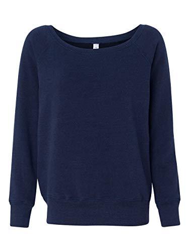 Bella + Canvas Women's Sponge Fleece Wide Neck Sweatshirt, Navy Triblend, Medium