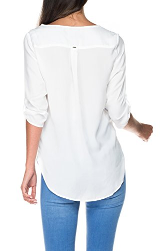 SALSA Camisa blanca floral perla