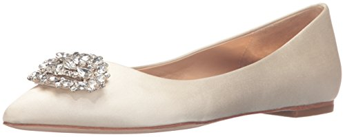 Badgley Mischka Women's Davis Pointed Toe Flat, Ivory, 9.5 M US by Badgley Mischka