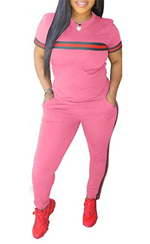 DINGANG Women 2 Pieces Outfits Short Sleeve Top and Bodycon Pants Sweatsuits Set Tracksuits Pink S
