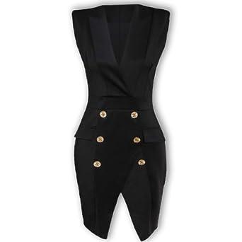 Oromiss Womens Black Tuxedo Dress Kim Kardashian Look Wrap