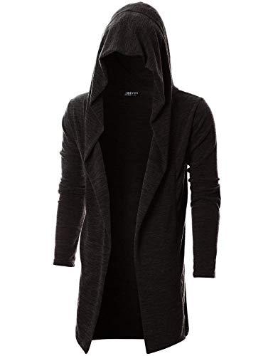 GIVON Mens Long Sleeve Draped Lightweight Open Front Longline Hooded Cardigan/DCC055-DARKBROWN-M