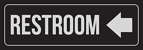 iCandy Combat Black Background with Silver Font Restroom - Left Arrow Business Retail Outdoor & Indoor Metal Wall Sign - 2 Pack, 3x9