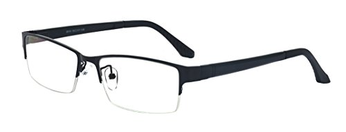 - ALWAYSUV Retro Rectangular Half Frame Clear Lens Glasses Black