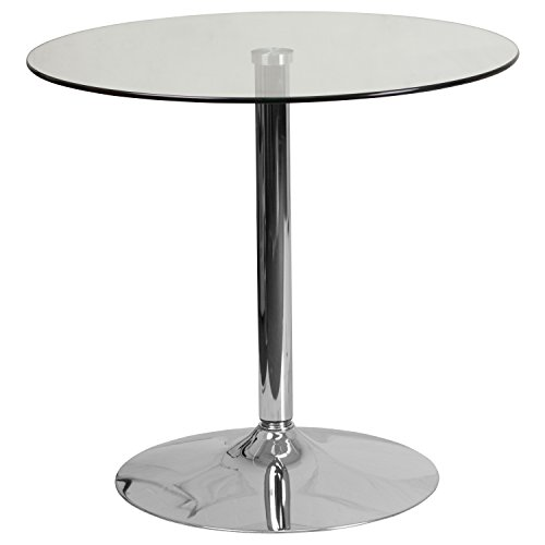Flash Furniture 31.5'' Round Glass Table with 29''H Chrome Base (Top Round Counter Glass Height Table)