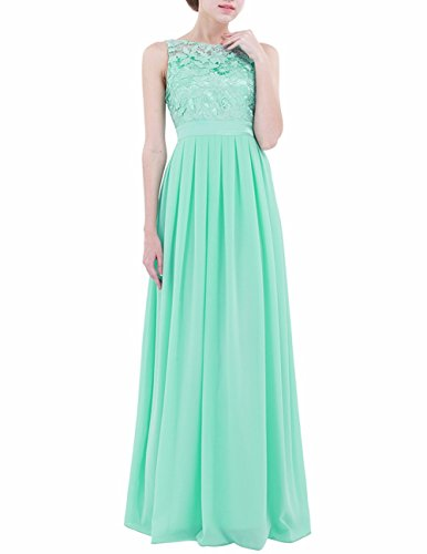 [FEESHOW Women's Floral Lace Appliques Chiffon Wedding Bridesmaid Long Dress Prom Evening Gowns Turquoise 14] (Floral Long Skirt Evening Gown)