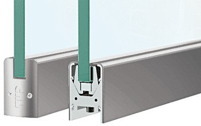 CRL Brushed Stainless Low Profile Door Rail Without Lock - 35-3/4' Length