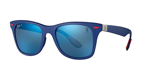 Ray-Ban Men's 0rb4195mf604h052plastic Man Polarized Iridium Square Sunglasses, Matte Blue, 52 - Ray Ferrari Ban