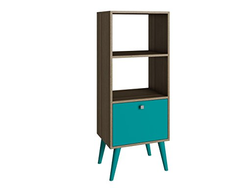 Manhattan Comfort Sami Collection Modern Sophisticated Tall Standing 1 Drawer and 2 Open Shelf Book Case, Oak and ()