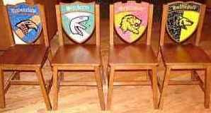 Harry Potter Hogwarts School Wooden 4 Chair Set: Gryffindor, Hufflepuff, Ravenclaw and - Princeton Nj Stores
