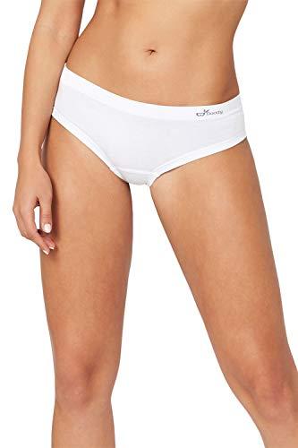Boody Body EcoWear Women's Brazilian Bikini - Seamless Underwear Made from Natural Organic Bamboo Viscose - Soft Breathable Eco Fashion for Sensitive Skin - White, Large, Two Pack
