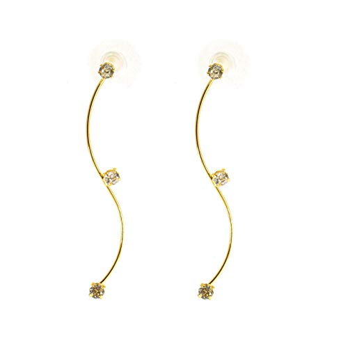 JGarden All-match 18k Gold-plated sparkle S shaped Multi Wear Rhinestone Front and Back Dangle Stud Earrings