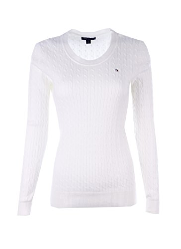 Tommy Hilfiger Womens Scoop Neck Cable Knit Sweater (Small, White)