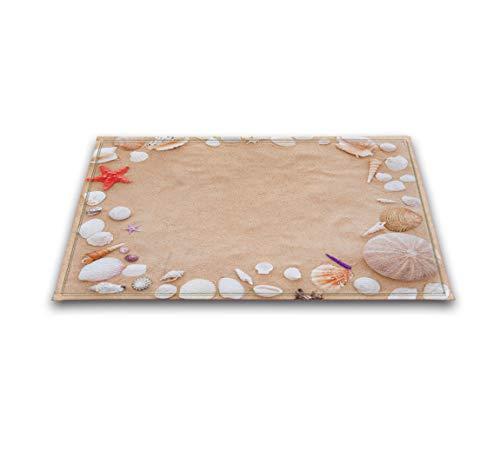 LB Seashell Print Small Rug for Bathroom Non Slip Backing Soft Microfiber, Colorful Cute Shell on Seashore Sand Beach Ocean Themed 15.7 x 23.6 ()