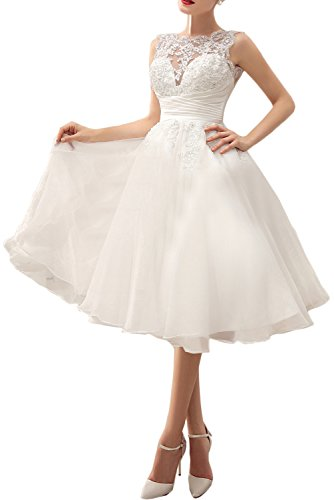 MILANO BRIDE Chic Wedding Party Dress Illusion-Neck Tea-Length Lace Prom Dress-2-Light Ivory by MILANO BRIDE (Image #3)