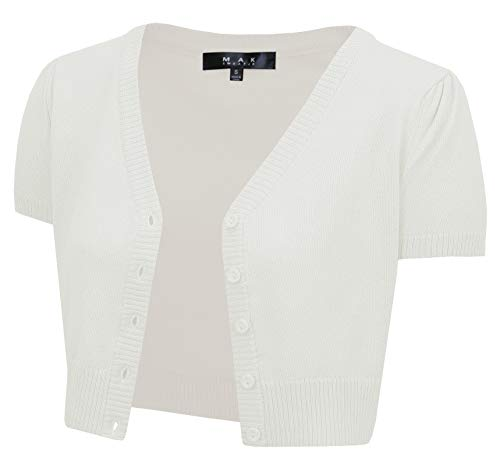 - YEMAK Women's Short Sleeve Cropped Bolero Button Down Cardigan Sweater HB2137-IVR-S Ivory