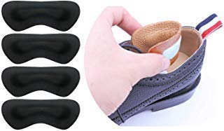 Heel Liner Heel Pads Liners Grips Inserts Cushions for Shoes Too Big Women Men,Leather Prevent blisters,Shoe Filler Improved Shoe Fit and Comfort,2Pairs(Black, Thick)